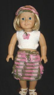 """Front  Back  With Backpack  Cargo Skirt Outfit w/Backpack- 18"""" Doll Pattern by Elizabeth Mareno  Items Needed: 5oz Bernat Pink Camo (skirt)..."""