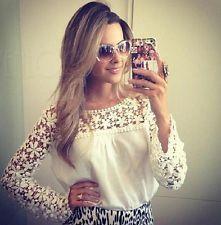 Ženy Girls Lace Hollow Out White šifon košile Halenky Spring s dlouhým rukávem Top