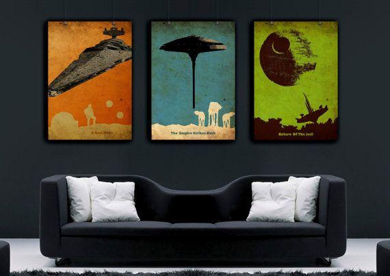 Star wars vintage poster set, New hoop poster, terugkeer van de jedi-poster, Empire strikes back poster, AT-AT wandelaars poster, Death Star kunst