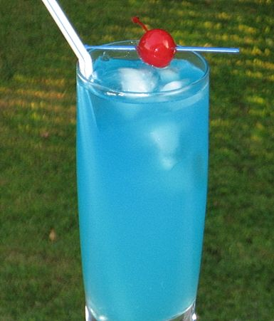 Blue Lagoon  1.5 oz. Vodka  1 oz. Blue Curacao  6 oz. Limeade (or Lemonade)  Cherry for garnish  Pour all of the ingredients into an ice filled Collins glass.  Stir well, garnish with the Cherry, insert a long straw, and just like that, you have a Blue Lagoon.  Enjoy, and please drink responsibly.
