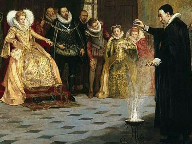 Dr John Dee, Alchemist and Astrologer to Elizabeth I performing an experiment for the entertainment of the Queen and her Court.
