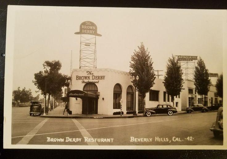Beverly Hills, CA RPPC Postcard BROWN DERBY RESTAURANT Bob Plunkett Photo c1940s