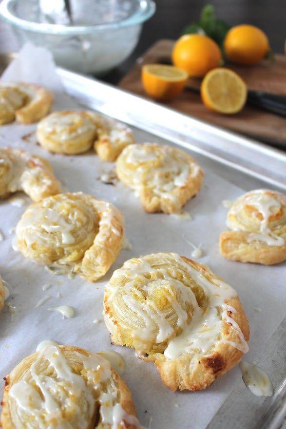 Sweet Puff Pastry Lemon Rolls