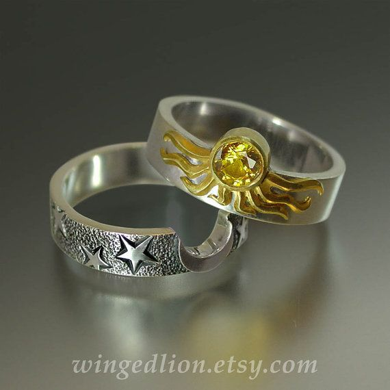 Sun and Moon ECLIPSE Engagement Ring and Wedding by WingedLion, $1655.00