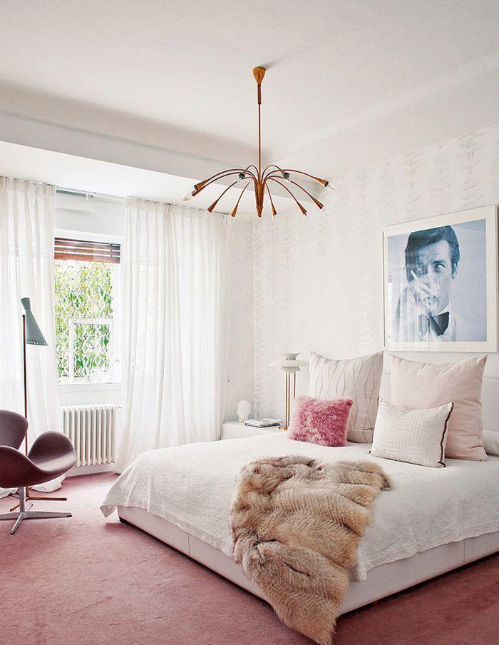 living-pink-Madrid-mod-apt-bedroom-white-ivory-blush-sputnik-James-Bond-art-fur