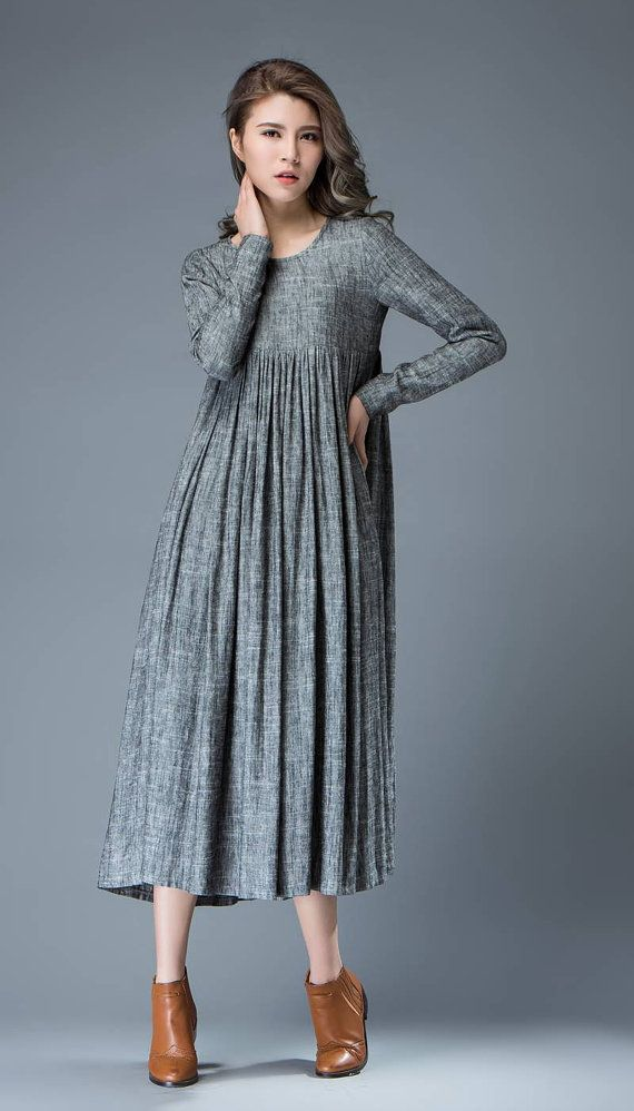 Casual Gray Dress  Comfortable Linen Loose-Fitting Long