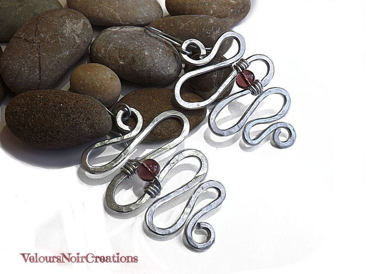 snake earrings handmade  hammered metal wire with glass bead amethyst