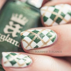Argyle nail art for st. Patrick's Day
