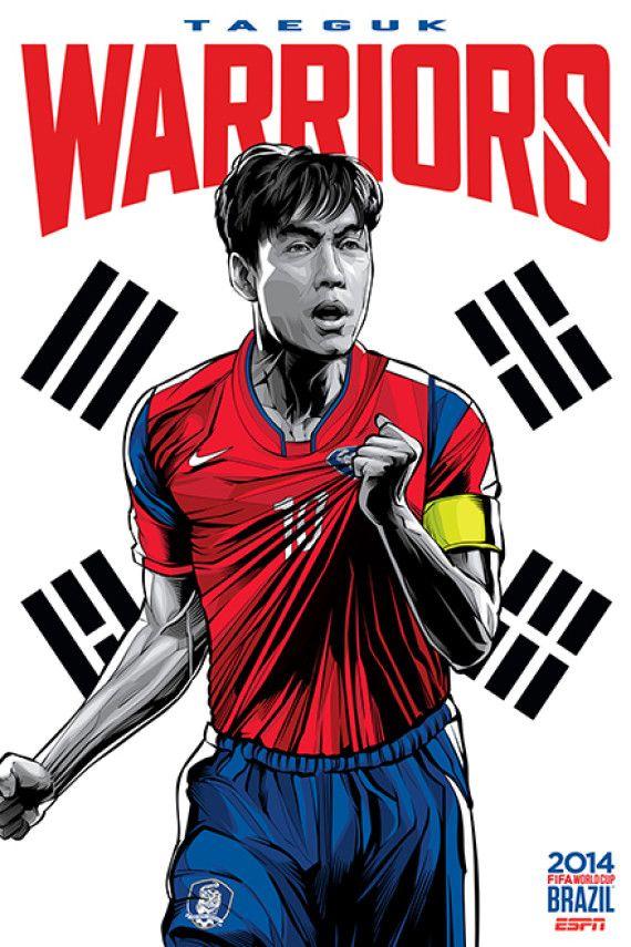 Corea del Sur - South Korea, Afiches fútbol Copa Mundial Brasil 2014 / World Cup posters by Cristiano Siqueira
