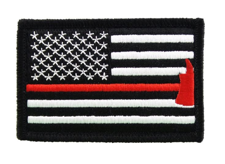Firefighter Axe US Flag Thin Red Line Velcro Morale Patch United States