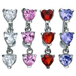 Shop for Fancy Top Down Heart Prong-Setting CZ Navel Belly Button Ring - 14 GA 3/8