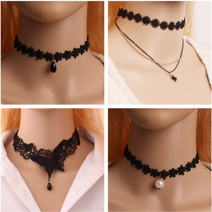 Fashion Retro Gothic Tattoo hollow Lace butterfly Necklace Pendant Vintage Wedding Jewelry Choker Multilayer Necklace Women