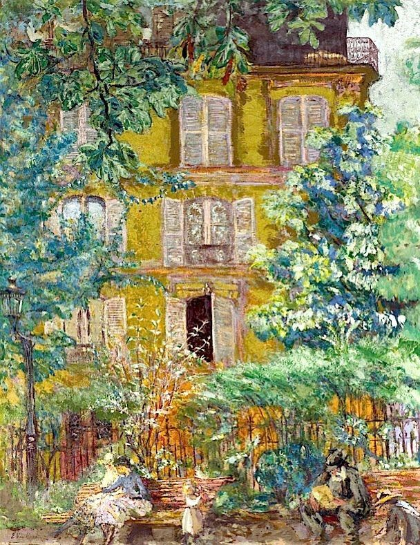 Jean-Édouard Vuillard (11 Nov 1868 – 21 Jun 1940) was a French painter and printmaker.  In his paintings and decorative pieces Vuillard depicted mostly interiors, streets and gardens. Marked by a gentle humor, they are executed in the delicate range of soft, blurred colors characteristic of his art. His works are largely decorative and often depicting very intricate patterns.