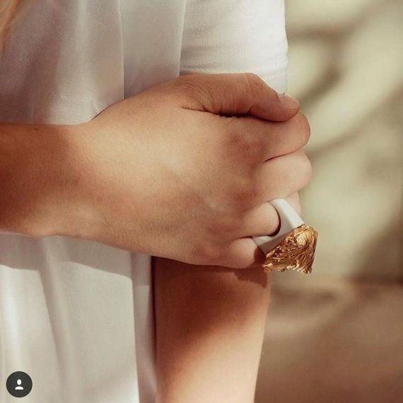 porcelain jewelryporcelain ring goldplated ring by SHporcelain