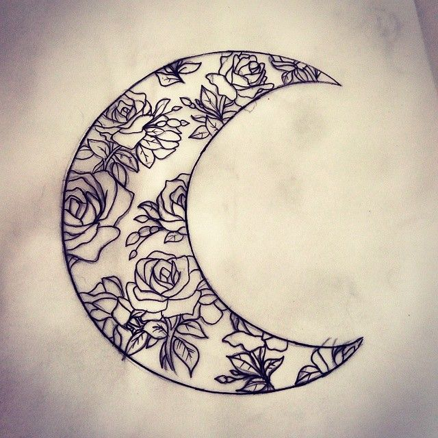 Floral Moon tattoo
