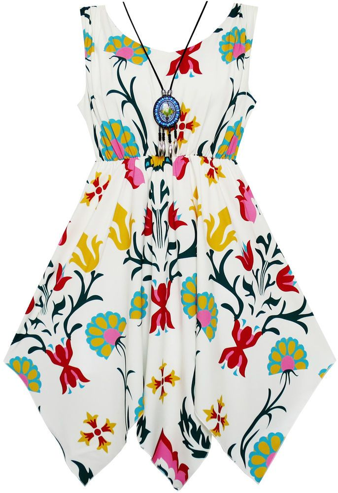 Flower Girl Dress Flower Print Hanky Hem with Necklace Size 8 #SunnyFashion #Everyday