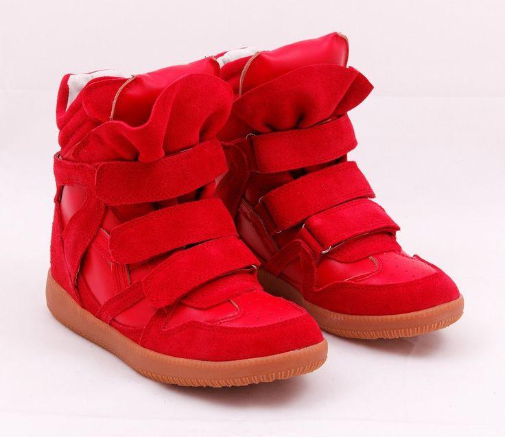 Кроссовки Isabel Marant Sneakers полностью из натуральной замши, внутри натуральная кожа, качественная каучуковая подошва, цвет красный. Каблук 6см