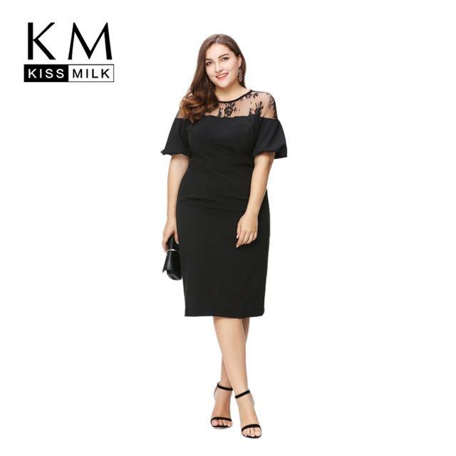 bd860195c77 Kissmilk Women Plus Size Ruffles Shoulder Midi Party Dress OL Sexy Lace  Dress Patchwork Bodycon Big Size Pencil Dress 5XL 6XL
