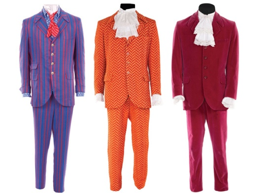 "Up for bid: Three of Mike Meyers' signature Austin Powers costumes, from ""Goldmember"" estimated sale price USD 6,000-USD 8,000 each. Groovy, baby!"