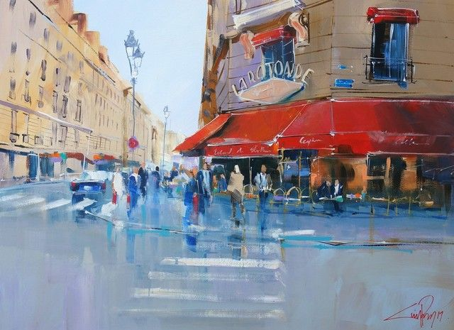 Rain on La Rotonde - Paris, Artist: Craig Penny, Acrylic on Paper, 84 x 60cm