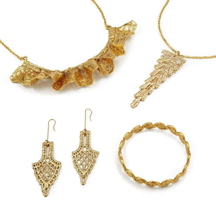 Gold dipped lace jewelry- Uncommongoods.com