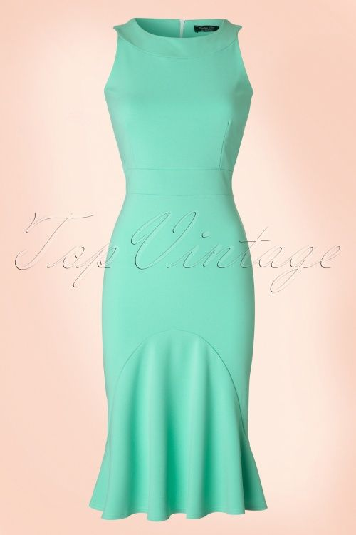 Vintage Chic - 50s Bella Trumpet Dress in Mint Green