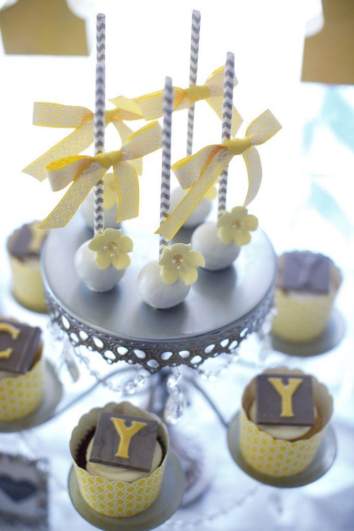 Cake pops and cupcakes from a Yellow & Gray Alphabet Baby Shower + Gender Reveal via Kara's Party Ideas | KarasPartyIdeas.com (19)