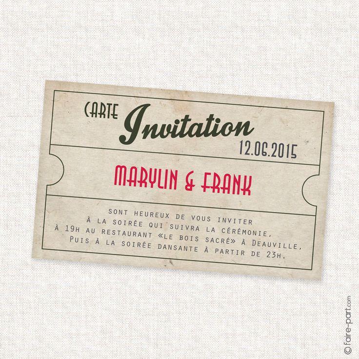 Carte Invitation Mariage Cinéma Vintage Retro