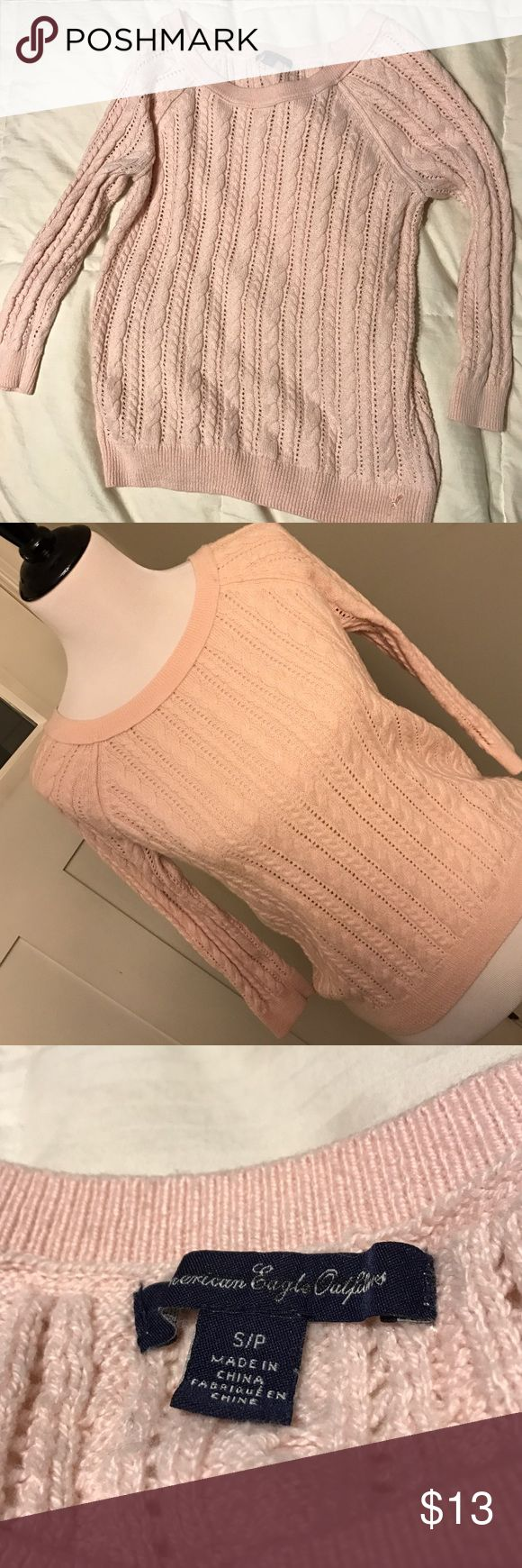 American Eagle 3/4 Sleeve Sweater Blush pink 3/4 sleeve American Eagle sweater in great condition / No Trades / Offers Welcome 🌸 American Eagle Outfitters Sweaters