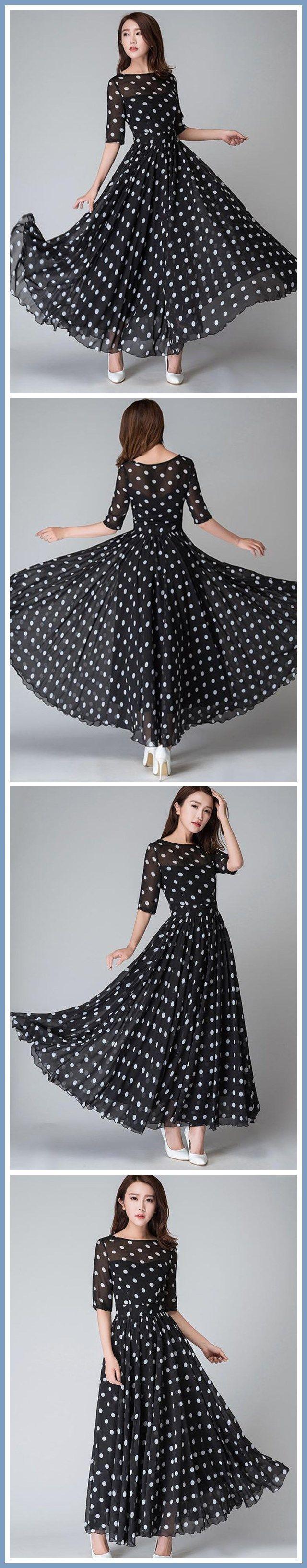 Polka Dots Half Sleeve Round Neck Expansion Maxi Dress