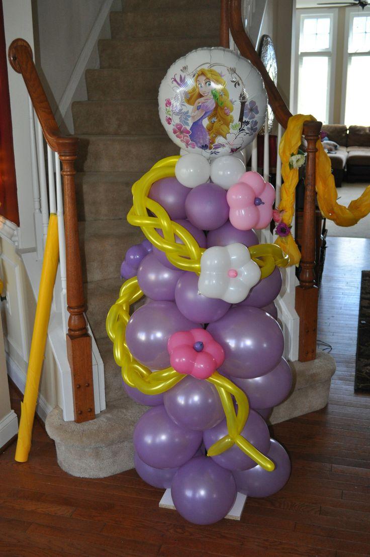 Diy balloon columns - Balloon Princess Tangled And Rapunzel Themed Balloon Art Balloon Princess Party Ideas