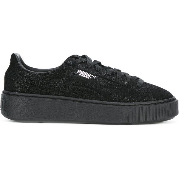 Puma Sport Classics Sneakers ($91) ❤ liked on Polyvore featuring shoes, sneakers, black, black platform shoes, sports shoes, platform shoes, black leather shoes and sport sneakers
