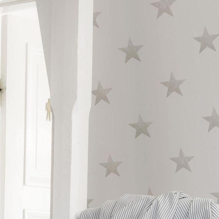 Papel pintado estrellas vintage de color piedra, telas & papel