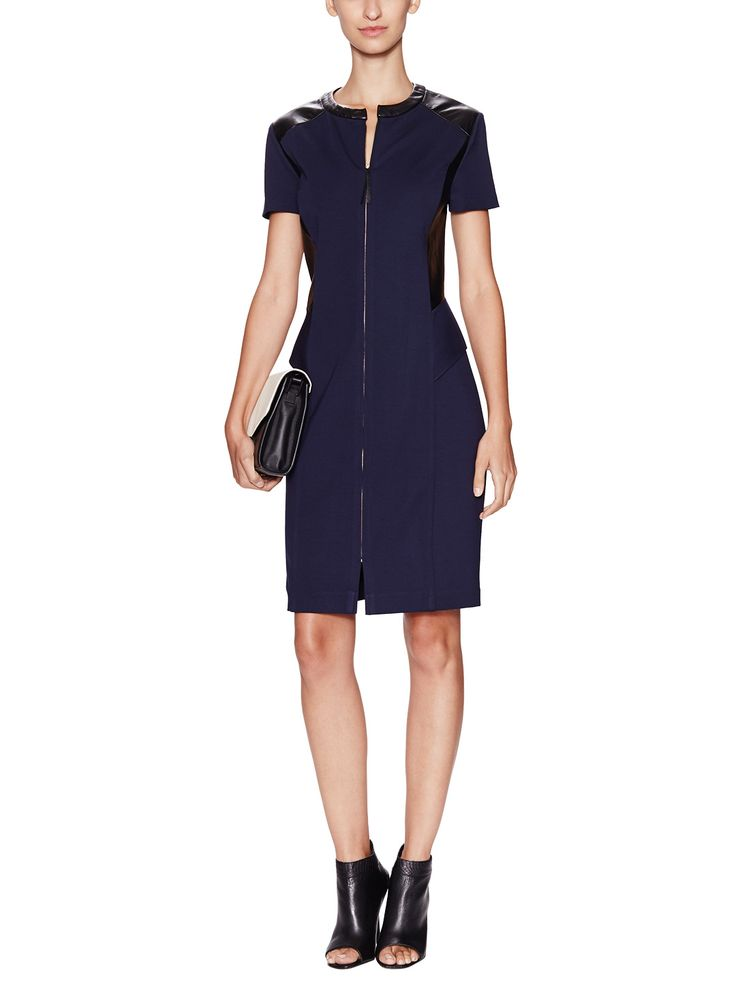 Contrast Leather Ponte Sheath Dress