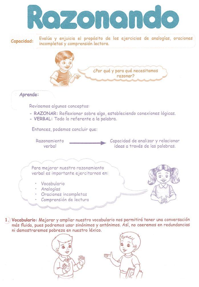 razonamiento verbal para niños de primaria - Buscar con Google