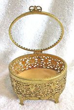 Vintage Ornate Gold Filigree Oval Shaped Jewelry Box/Casket - Beveled Glass
