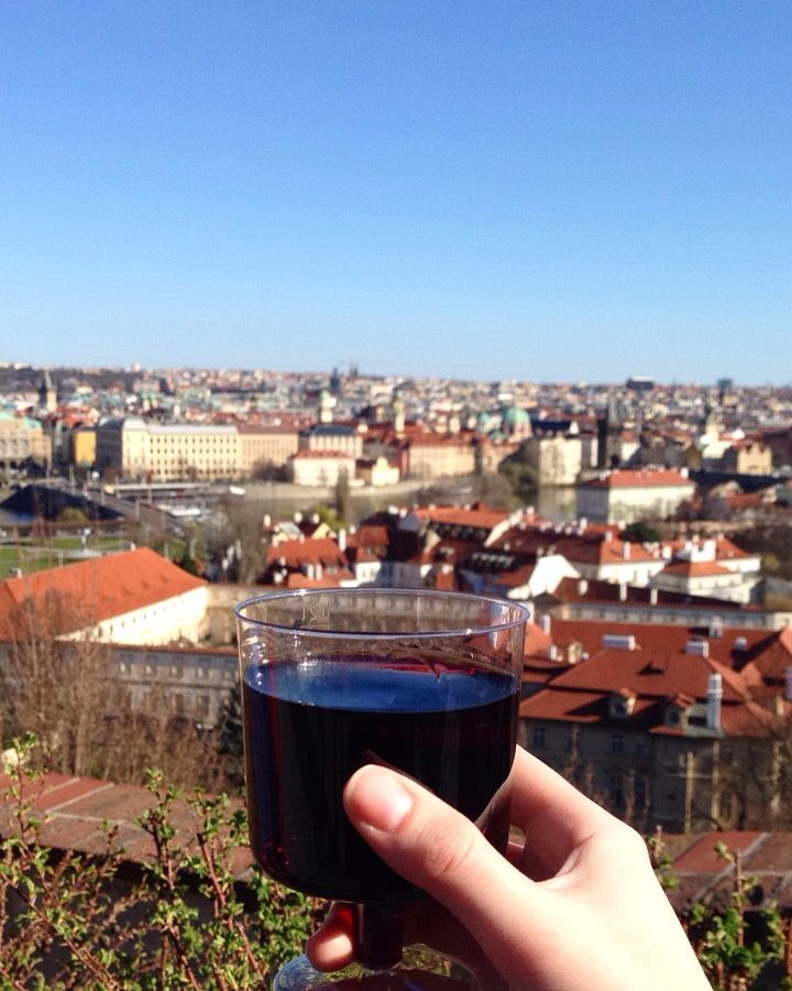 Wine and Prague Castle in Prague, Czech Republic