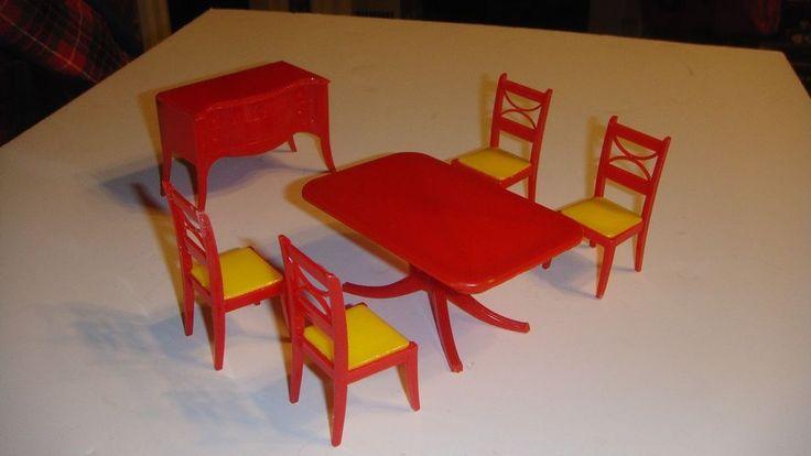 Renwal dining room set vintage dollhouse furniture ideal marx plasco renwal renwal - Dollhouse dining room furniture ...