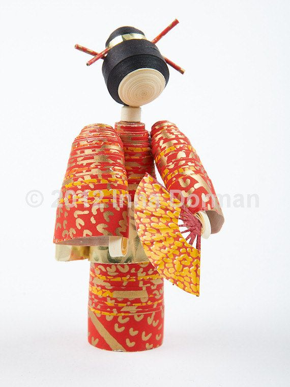 Japanese style paper doll with a fan. Collectible, one of a kind. Not a toy. $20.00, via Etsy.