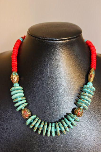 İletişim: aksesuarelle@gmail.com Bohem Tarzı Mercan ve Turkuaz Antik Nepal Boncuk Detaylı Kolye - El Yapımı Takı Tasarım / Bohemian Style Coral and Turquoise Neclace with Nepal Beads - Handmade Jewelry Design