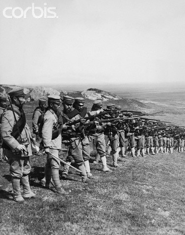 Soldiers During Russo-Japanese War - VV15095 - Rights Managed - Stock Photo - Corbis. Original caption:Waiting for Russian Cavalry attack on a hillside near Fakumen.