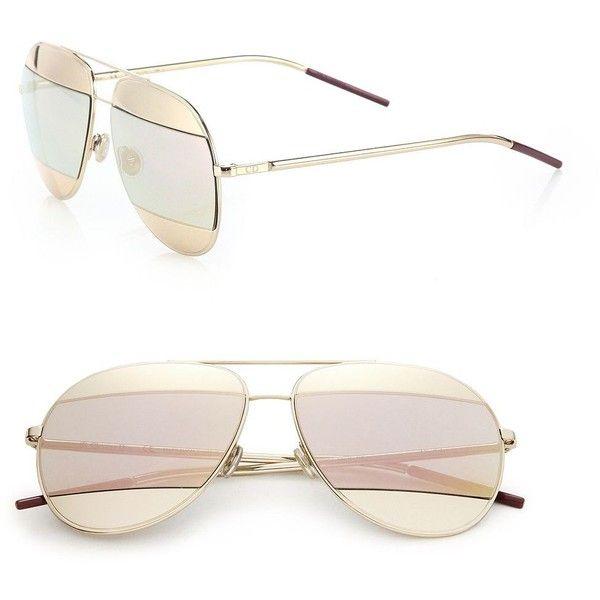 Dior Split1 59MM MetalAviator Sunglasses ($585) ❤ liked on Polyvore featuring accessories, eyewear, sunglasses, apparel & accessories, rose gold, mirror aviators, mirror aviator glasses, aviator sunglasses, uv protection glasses and mirror lens aviators