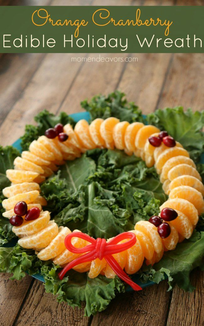 Orange Cranberry Edible Holiday Wreath - perfect for Christmas morning or holiday parties!