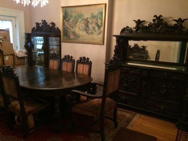 Antique19th Century Horner Carved Solid Oak Dining Room Set