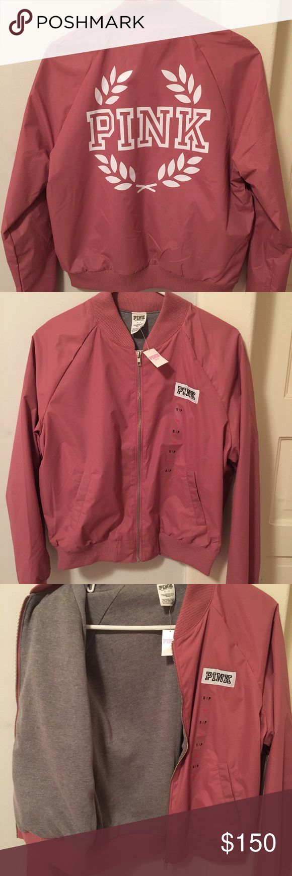 Vs PINK Bomber Jacket Begonia LAST ONE New fall 2016 release -NWT. SOLD OUT ONLINE/IN STORES Size small, last one! Jersey lined on the inside, perfect for fall! Victoria's Secret PINK Victoria's Secret Jackets & Coats