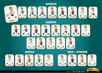 Set of 32 cartoon characters with uniforms of all teams for Brazil 2014 FIFA World Cup .You can choose your favorite team and use the character as avatar, or design resource. Under Commons 3.0. Attribution License.