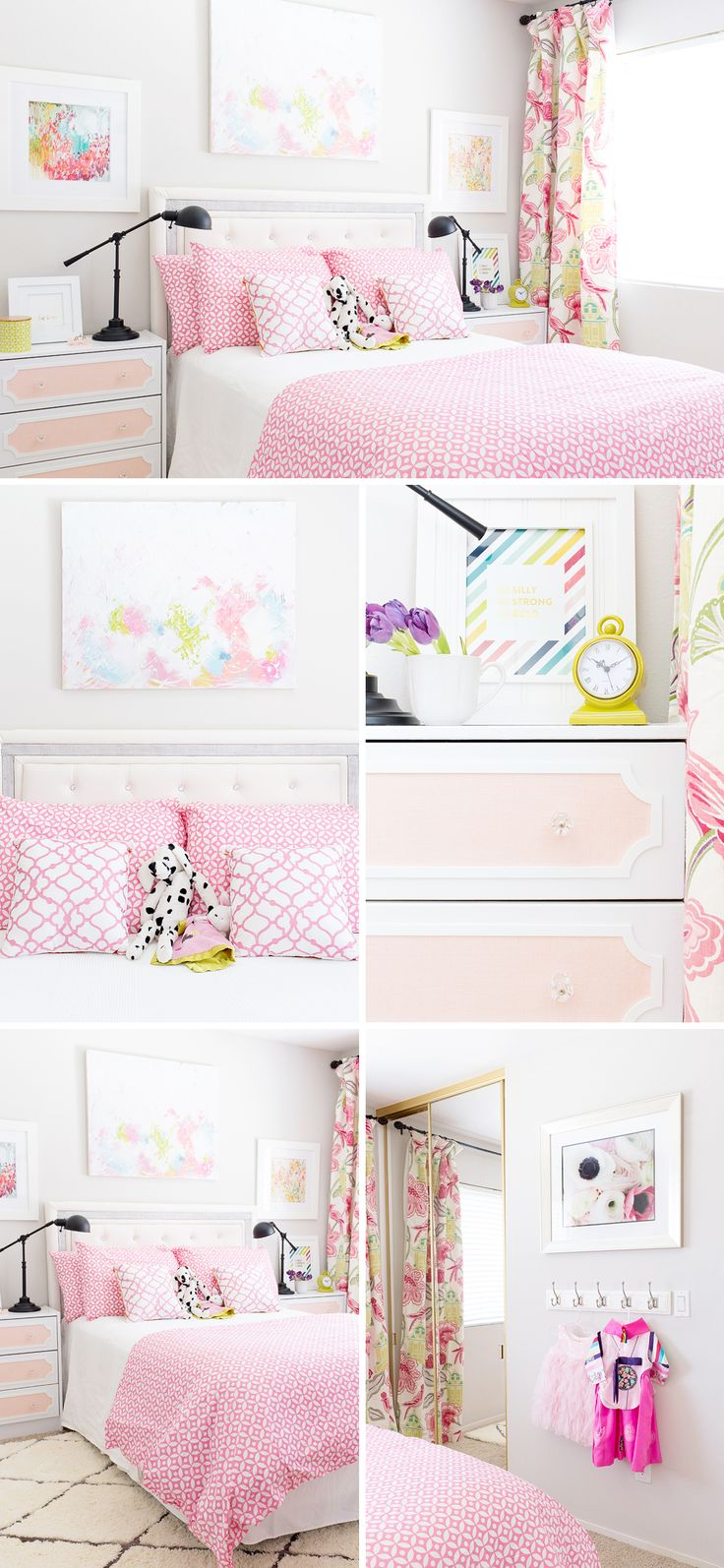 A Feminine Bright And Modern Pink Girl S Room With Diy Curtains Diy Art And