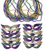#8: Mardi Gras Face Mask & Beads - Mardi Gras Mask Bulk - Mardi Gras Necklaces - Mardi Gras Costumes by Funny Party Hats