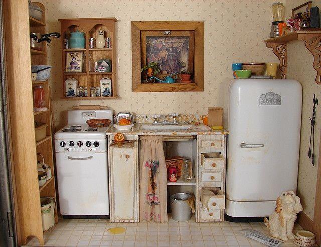 miniature retro kitchen