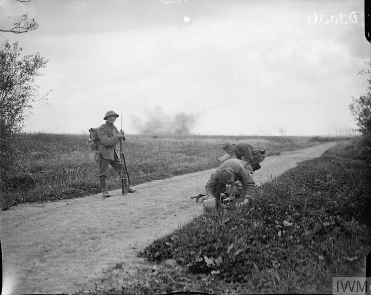 German prisoners and shell-burst at Meteren, 18 August 1918. Also known as Fifth Ypres, this attack was ordered by Foch (as part of the Hundred Days) to push the Germans back after their failed Spring...